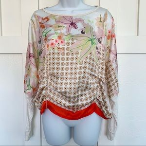 Anthro TINY Floral Ruched Dolman Sleeve Blouse